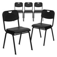 Flash Furniture Heavy Duty Vented Stacking Chairs in Black (Set of 5)