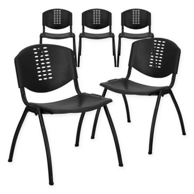 Flash Furniture Heavy Duty Plastic Stacking Chairs In Black (Set Of 5)
