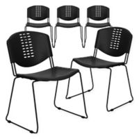 Flash Furniture Plastic Textured Stacking Chairs in Black (Set of 5)