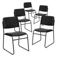 Flash Furniture Heavy Duty Metal Stacking Chairs in Black (Set of 5)