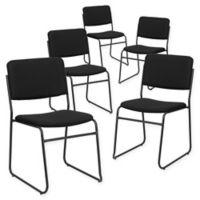 Flash Furniture Metal Stacking Chair in Black (Set of 5)