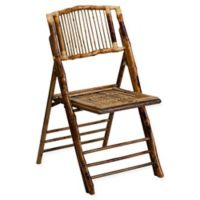 Flash Furniture American Champion Bamboo Folding Chair in Brown