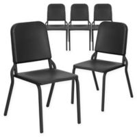 Flash Furniture Melody Band Stacking Chairs in Black (Set of 5)