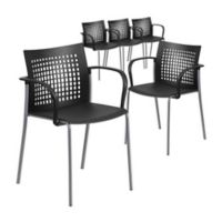 Flash Furniture Vented Stacking Armchairs in Black (Set of 5)