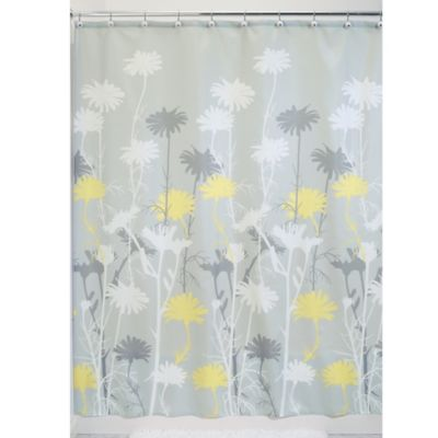 InterDesign Daizy 72 Inch X Shower Curtain In Grey Yellow