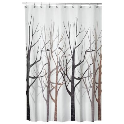 InterDesign Forest 54 Inch X 78 Inch Shower Curtain In Grey/Black