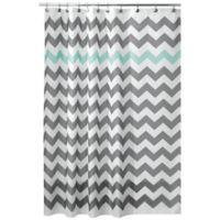 iDesign® 54-Inch x 78-Inch Chevron Shower Curtain in Blue/Grey