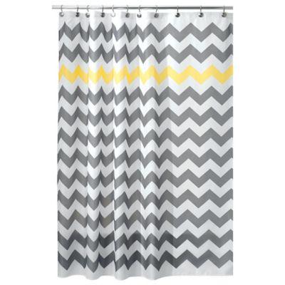 InterDesign® 54 Inch X 78 Inch Chevron Shower Curtain In Yellow/Grey