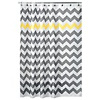 InterDesign® 54-Inch x 78-Inch Chevron Shower Curtain in Yellow/Grey