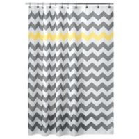 iDesign® 54-Inch x 78-Inch Chevron Shower Curtain in Yellow/Grey