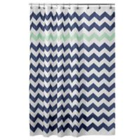 IDesignR 72 Inch X Chevron Shower Curtain In Mint
