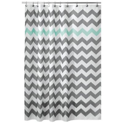 InterDesignR 72 Inch X Chevron Shower Curtain In Blue Grey