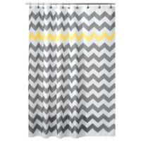 iDesign® 72-Inch x 72-Inch Chevron Shower Curtain in Yellow/Grey