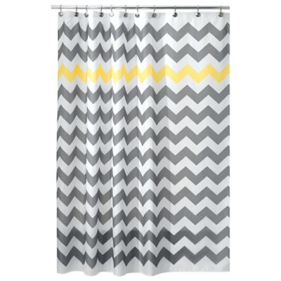 InterDesignR 108 Inch X 72 Chevron Shower Curtain In Yellow Grey