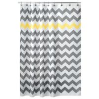 iDesign® 108-Inch x 72-Inch Chevron Shower Curtain in Yellow/Grey