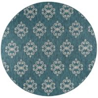 Tayse Rugs Veranda Geo Indoor/Outdoor 7-Foot 10-Inch Round Area Rug in Teal