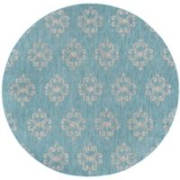 Tayse Rugs Veranda Geo Indoor/Outdoor 7-Foto 10-Inch Round Area Rug in Aqua