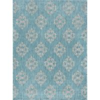Tayse Rugs Veranda Geo Indoor/Outdoor7-Foot 10-Inch x 10-Foot 3-Inch Area Rug in Aqua