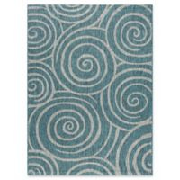 Tayse Rugs Veranda Spiral Indoor/Outdoor 5-Foot 3-Inch x 7-Foot 3-Inch Area Rug in Aqua