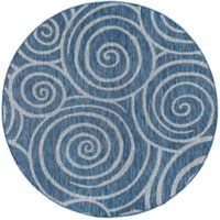 Tayse Rugs Veranda Spiral Indoor/Outdoor 7-Foot 10-Inch Round Area Rug in Indigo