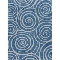 Tayse Rugs Veranda Spiral Indoor/Outdoor 7-Foot 10-Inch x 10-Foot 3-Inch Area Rug in Indigo