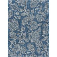 Tayse Rugs Veranda Floral Indoor/Outdoor 6-Foot 7-Inch x 9-Foot 6-Inch Area Rug in Indigo