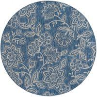 Tayse Rugs Veranda Floral Indoor/Outdoor 7-Foot 10-Inch Round Area Rug in Indigo