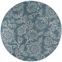 Tayse Rugs Veranda Floral Indoor/Outdoor 7-Foot 10-Inch Round Area Rug in Aqua