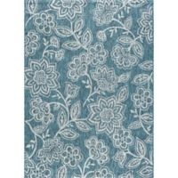 Tayse Rugs Veranda Floral Indoor/Outdoor 7-Foot 10-Inch x 10-Foot 3-Inch Area Rug in Aqua