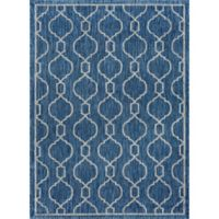 Tayse Rugs Veranda Graphic Indoor/Outdoor 7-Foot 10-Inch x 10-Foot 3-Inch Runner in Indigo