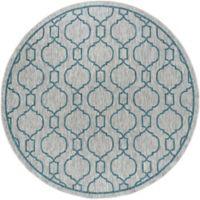 Tayse Rugs Veranda Graphic Indoor/Outdoor 7-Foot 10-Inch Round Area Rug in Teal