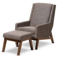 Baxton Studio Aberdeen 2-Piece Chair and Ottoman Set in Wood/Gravel