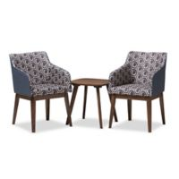 Baxton Studio Reece 3-Piece Lounge Chair and Table Set in Blue/Walnut