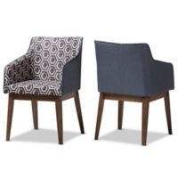 Baxton Studio Reece Lounge Chairs in Blue/Walnut (Set of 2)