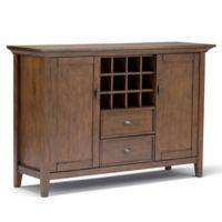 Simpli Home Redmond Buffet Server/Sideboard Cabinet with Wine Rack in Brown