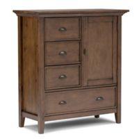Simpli Home Redmond Tall Storage Cabinet in Brown