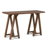 Simpli Home Sawhorse 50-Inch Console Sofa Table in Saddle Brown