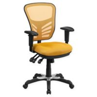Flash Furniture Mid-Back Mesh Chair in Yellow/Orange