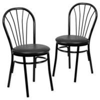 Flash Furniture Metal Fan Back Chair in Black (Set of 2)
