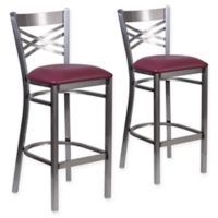 Flash Furniture Clear Coated Black Metal Bar Stools with Burgundy Vinyl Seats (Set of 2)