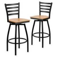 Flash Furniture Ladder Back Black Metal Swivel Bar Stools with Natural Wood Seats (Set of 2)