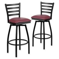 Flash Furniture Ladder Back Black Metal Swivel Bar Stools with Burgundy Vinyl Seats (Set of 2)