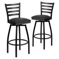 Flash Furniture Ladder Back Black Metal Swivel Bar Stools with Black Vinyl Seats (Set of 2)