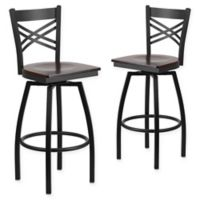 "Flash Furniture ""X"" Back Metal/Wood Swivel Bar Stools in Walnut/Black (Set of 2)"