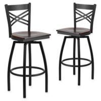 """Flash Furniture """"X"""" Back Metal/Wood Swivel Bar Stools in Walnut/Black (Set of 2)"""