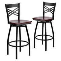"Flash Furniture ""X"" Back Metal/Wood Swivel Bar Stools in Mahogany/Black (Set of 2)"