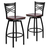 "Flash Furniture ""X"" Back Metal/Wood Swivel Bar Stools in Mahogany/Black (Set of 2)"