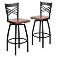 "Flash Furniture ""X"" Back Metal/Wood Swivel Bar Stools in Cherry/Black (Set of 2)"