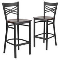 """Flash Furniture """"X"""" Back Metal/Wood Bar Stools in Walnut/Black (Set of 2)"""