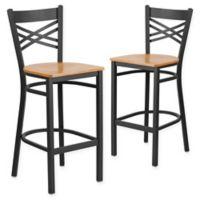 "Flash Furniture ""X"" Back Metal/Wood Bar Stools in Natural/Black (Set of 2)"
